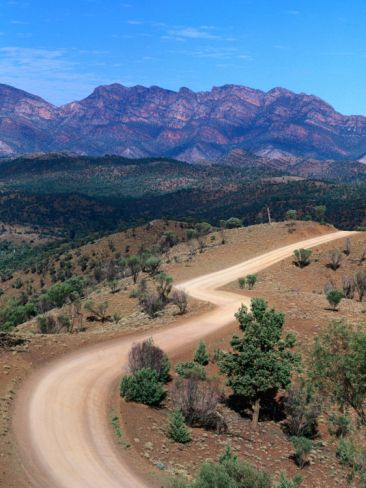 """Dirt Road Winding Through Range, Flinders Ranges National Park, Australia""=>"
