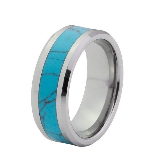 Turquoise Wedding Band Flat High Polished Beveled by CemCemDesignz