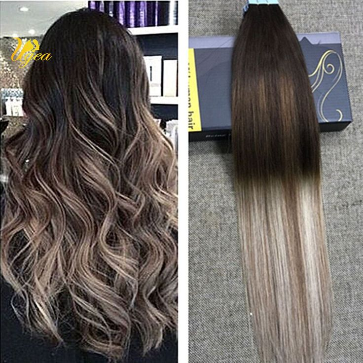 136 best tape in hair extensions images on pinterest curtains brazilian balayage ombre dark brown ash blonde pu tape in human hair extensions ugea pmusecretfo Choice Image