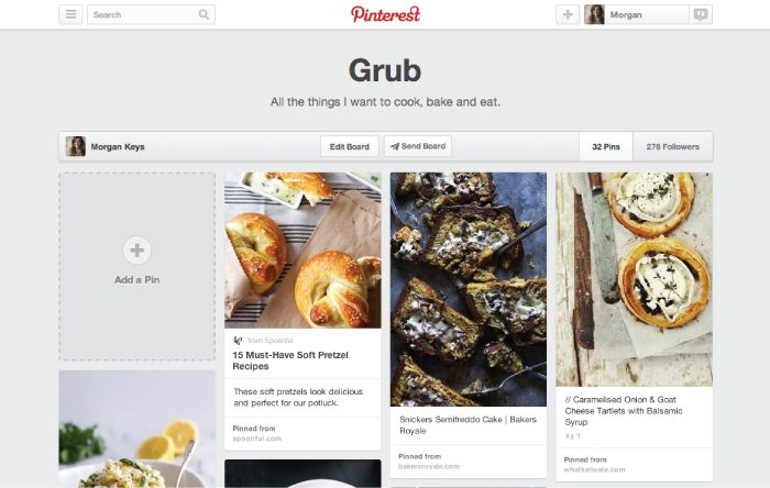 Save your Pins on boards>>> Boards are where you save your Pins. You can make boards for anything and everything—add pretzel recipes to your Grub board (done!), travel plans to your Going Places board, or watches and Aston Martins to your James Bond board. Create a secret or group board You can also make secret boards, or invite other people to Pin with you on a board. If you're relandscaping your backyard, invite family members or even your contractor to your Garden Remake board.