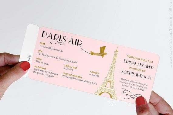 Paris Theme Party Boarding Pass Invitation, Real Airline Ticket Invite, French, Bridal Shower, Pink, Gold, Rendez vous de Paris, Baby Shower