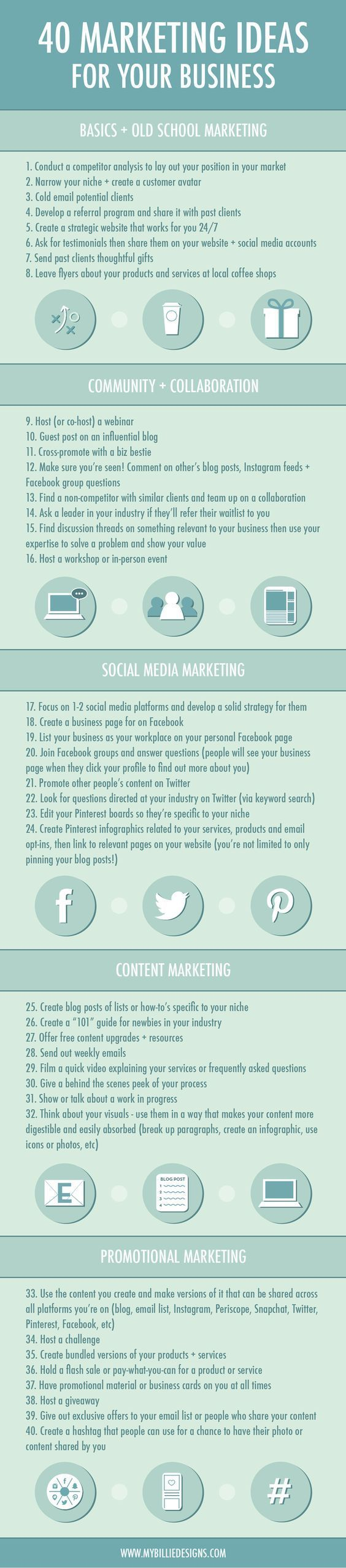 """40 Marketing Ideas For Your Business - <a class=""""pintag"""" href=""""/explore/infographic/"""" title=""""#infographic explore Pinterest"""">#infographic</a>"""