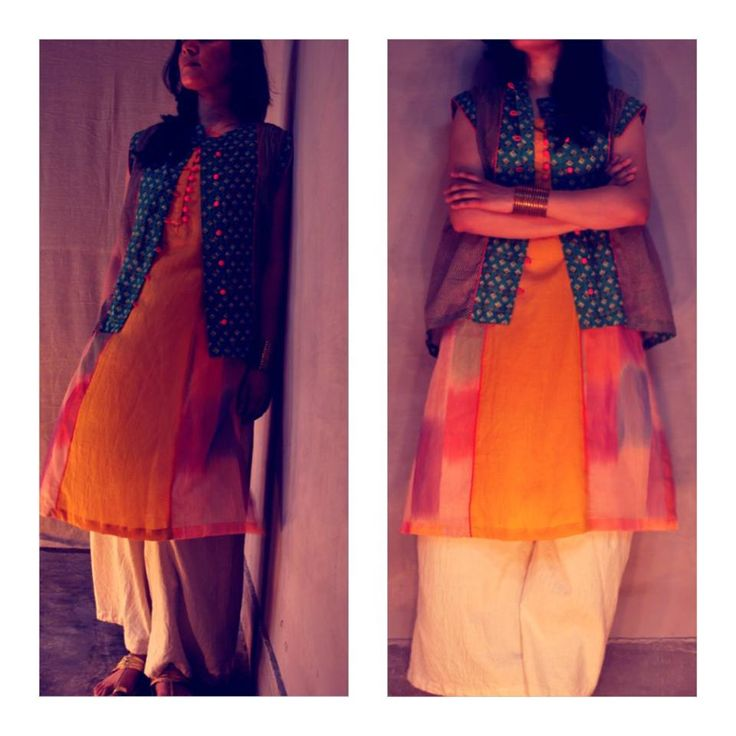 By #Itr -- ethnic style fused with modern sensibilities  Palazzo Pants paired with straight cut kurti, layered with a gathered blouse.