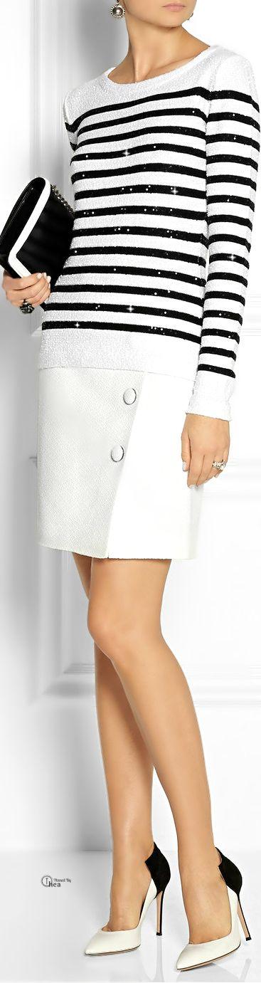 Oscar de la Renta ~ Sequined sweater & White Skirt