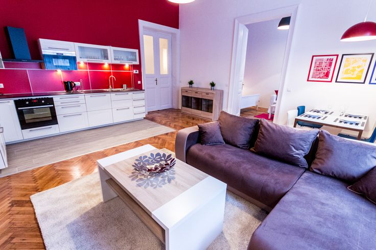 Colorful, red kitchen / Budapest downtown apartment renovated and furnished by www.towerassistance.com