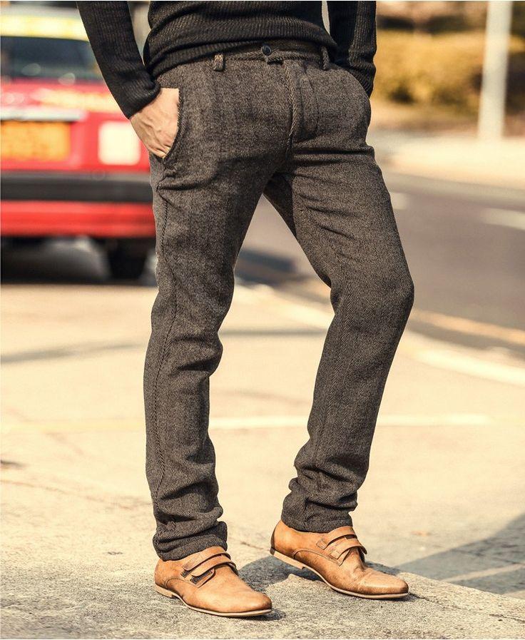 Высокое Качество Нового мужская Мода Зима и Осень узкие брюки Мужчины Сплошной Цвет шерстяной Костюм Брюки Мужчины Бизнес Формальный повседневные Брюкикупить в магазине MIX MAN StoreнаAliExpress