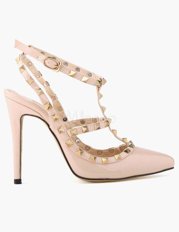 Elegante PU brevetto tacco a spillo sandali gladiatore per donna