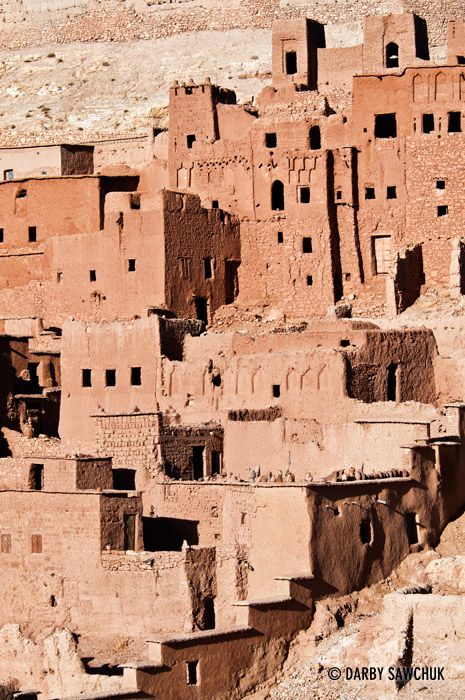 A closer view of one of the kasbahs at Ait Benhaddou, Morocco. // Kasbah or Qasbach is a type of medina, Islamic city or fortress, citadel.