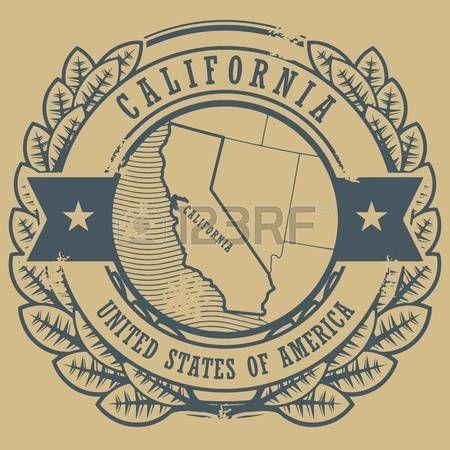 Grunge sello de goma con el nombre y el mapa de California, EE.UU.