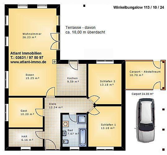 Grundriss bungalow 100 qm  Winkelbungalow Modern Grundriss ~ Innenraum und Möbel