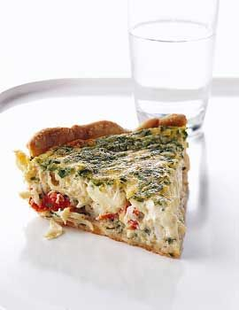 Crab quiche -- increase to 5 eggs, reduce cream to 1 1/3 cups, eliminate cilantro, increase amount of chives and parsley. Perfecto!