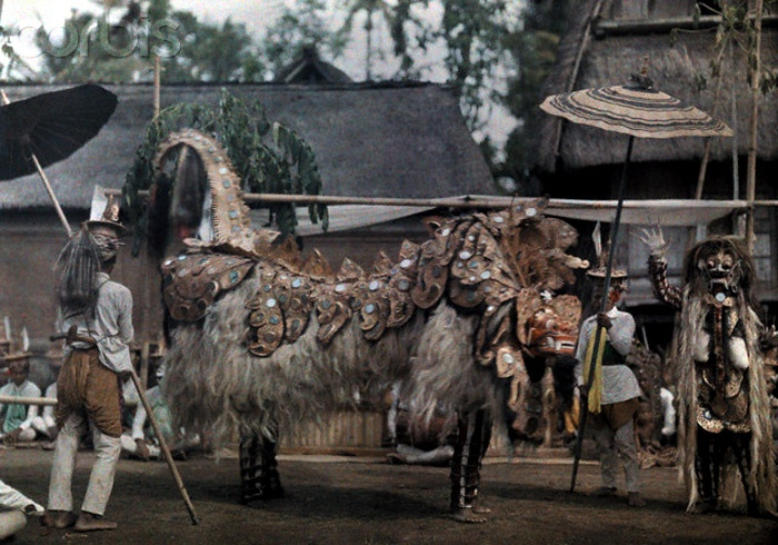 The First Color Photos of Bali, Indonesia in 1920s, 1928, Bali, Indonesia --- The Balinese performing their ceremonial Lion Dance --- Image by Franklin Price Knott