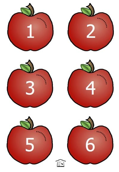 FREE printable Apple Worms counting set, 1 to 10 for