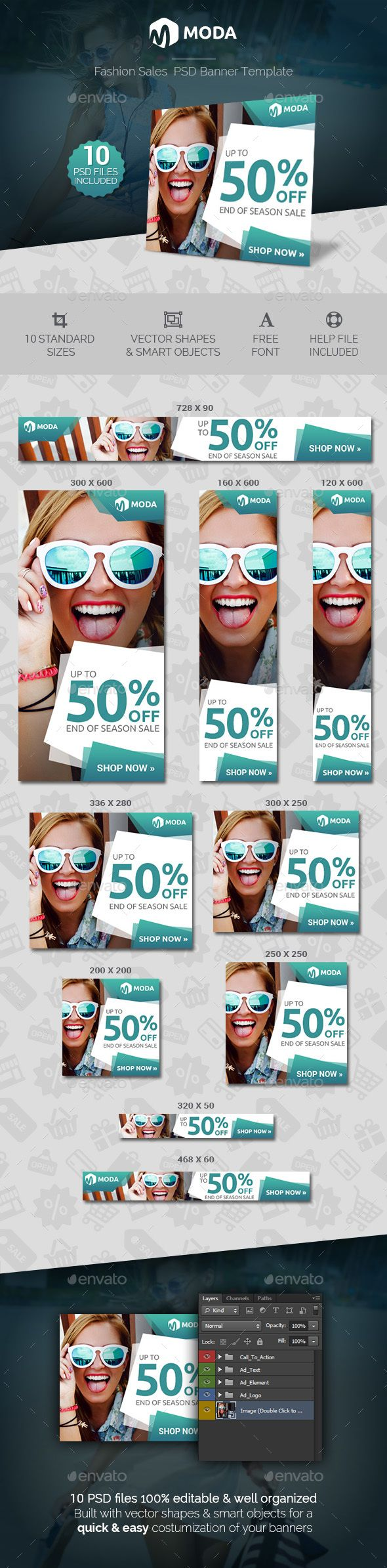 Moda - Fashion Sales Banner Template PSD #ads
