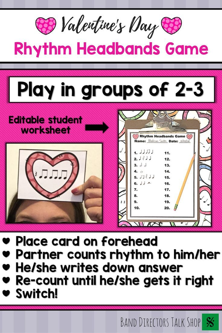 Valentines Day Music Activities Rhythm Game | Music Theory Games