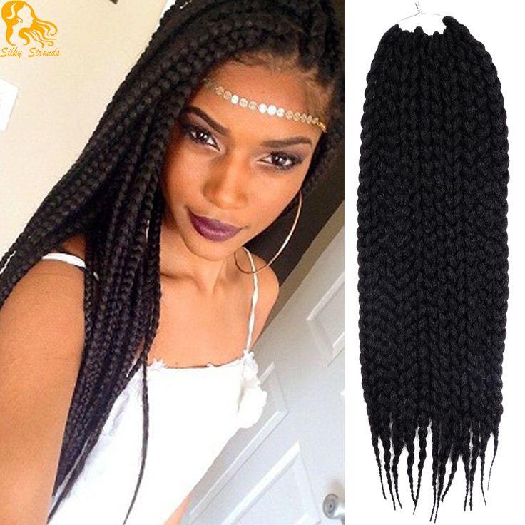 22inches Box Braids Hair Extensions Synthetic Pre-Braided 3s Crotchet Box Braids Freetress Havana Mambo Box Braid Crochet Hair
