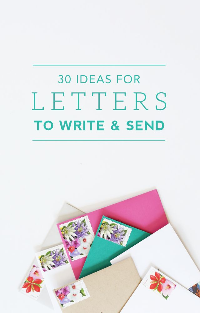OMG YES! If you have creative juices flowing, and want to make someone's day, write a letter to your grandmother! Green Fingerprint: 30 Ideas for Letters to Write and Send