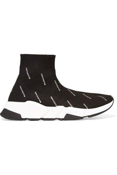 BALENCIAGA | Speed printed stretch-knit high-top sneakers #Shoes #Sneakers #High_Top #BALENCIAGA
