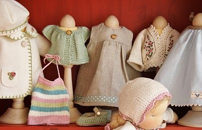 Atelier Poppenoek: doll clothes: traditional clothes for Waldorf Dolls & great crochet pattern for doll shoes. coat jacket pic