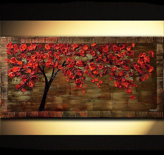 Pintura a medida, este rojo florece la pintura del árbol que ves fue vendida pero puedo crear uno muy similar. La pintura estará lista para colgar y listo para enviar dentro de 6 días hábiles. La pintura se creará por mí, usando una espátula para crear textura y firmada por mí. La