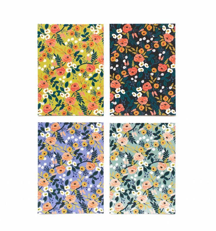 Violet Floral Set of 12 Assorted Flat Notes & Envelopes