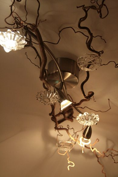 Rescued Branches Chandelier Findings To Create Forest Glam Around Fixed Lighting