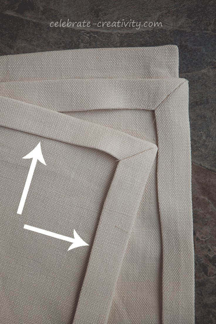 Mitered corners on linen napkins, great tutorial on cutting and sewing napkins in linen. More