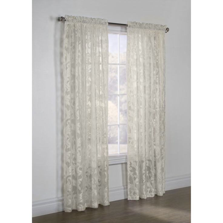 Jacqueline Scroll White Lace Curtain Panel Products