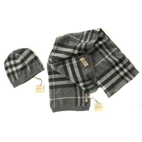 BURBERRY - completo cuffia e sciarpa in lana merino