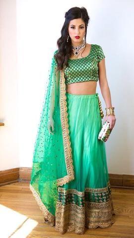 Stylish Green Designer Bollywood Lehenga Choli Online ,Indian Dresses - 1