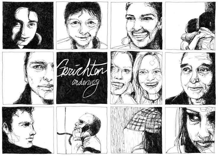Gezichten Onderweg // Faces Along The Way // illustration // black and white // fineliner // realistic // drawing