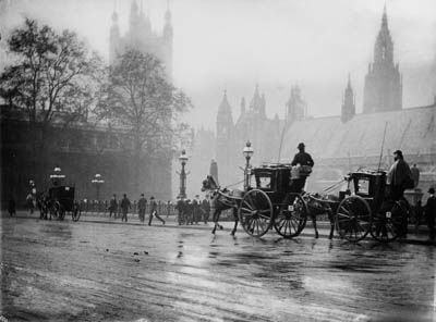 Léonard Misonne, London street scene, early 1900s