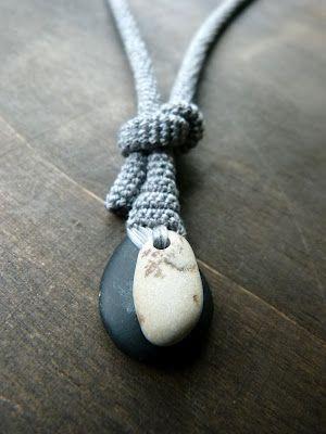 Rock plus yarn. Lovely!