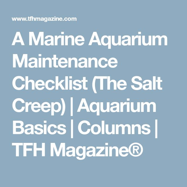 A Marine Aquarium Maintenance Checklist (The Salt Creep) | Aquarium Basics | Columns | TFH Magazine®