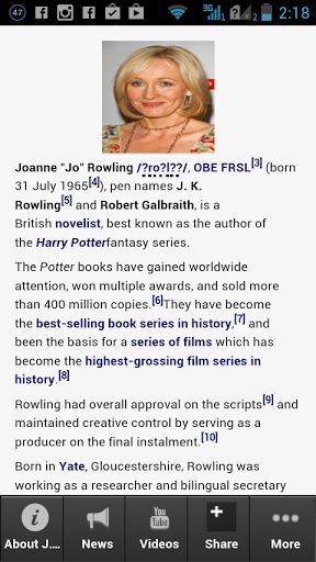 "The absolute and compete app about J. K. Rowling! <p>This is the most amazing app you will find when it comes to information about jk rowling new book. <p>Get the latest updates, news, information, videos, photos, events and amazing deals for jk rowling net worth app fans.<br>  <br>Download this app now!  <p>Joanne ""Jo"" Rowling /ˈroʊlɪŋ/, OBE FRSL[3] (born 31 July 1965[4]), pen names J. K. Rowling[5] and Robert Galbraith, is a British novelist, best known as the author of the Harry Potter…"