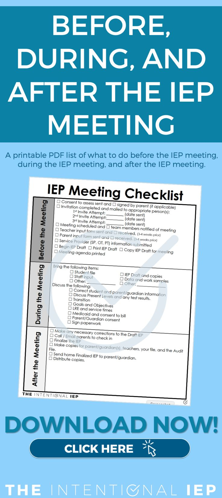 Free printable iep meeting checklist for teachers in 2020