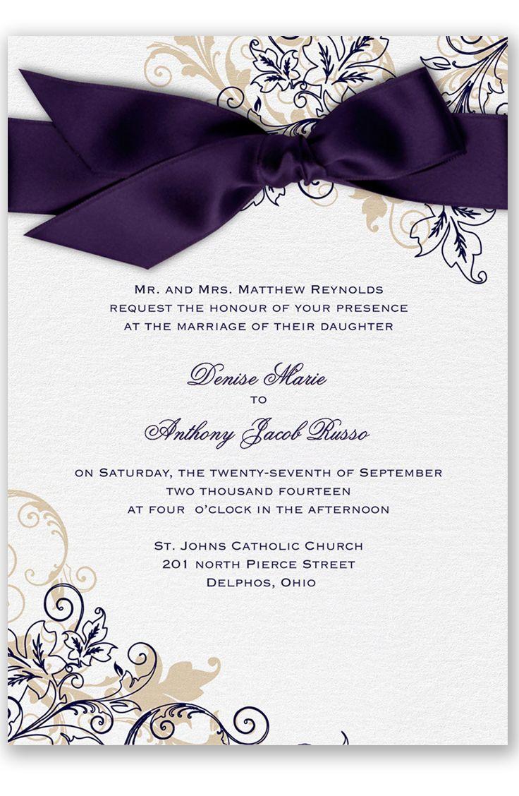 Flourish with Golden Shadow Wedding Invitation in Lapis by David's Bridal