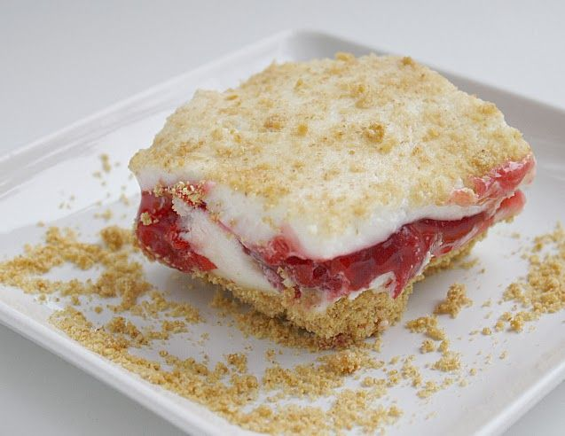 CHERRIES ALASKA -  Crust: 1 1/2 cups graham cracker crumbs 1/4 cup melted butter 1/4 cup sugar  Filling: 10-ounce pkg marshmallows 3/4 cup milk 1 cup whipping cream 21 ounce can cherry pie filling