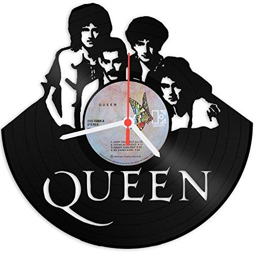 Queen Design Wanduhr aus Vinyl Schallplattenuhr im Upcycling Design Vinyl-Uhr Wand-Deko Vintage-Uhr Wand-Dekoration Retro-Uhr Made in Germany