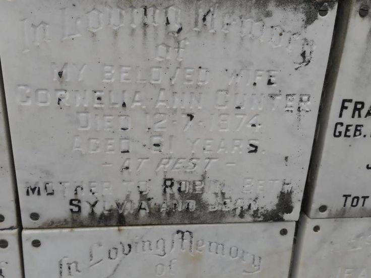 GUNTER Cornelia Ann -1974 Kwazulu-Natal, DURBAN, Stellawood, Cemetery and Crematorium 04. Crematorium & Wall of Remembrance