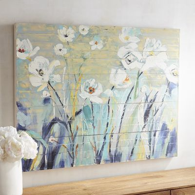 Our hand painted canvas depicts a lovely patch of white flowers portrayed in a painterly