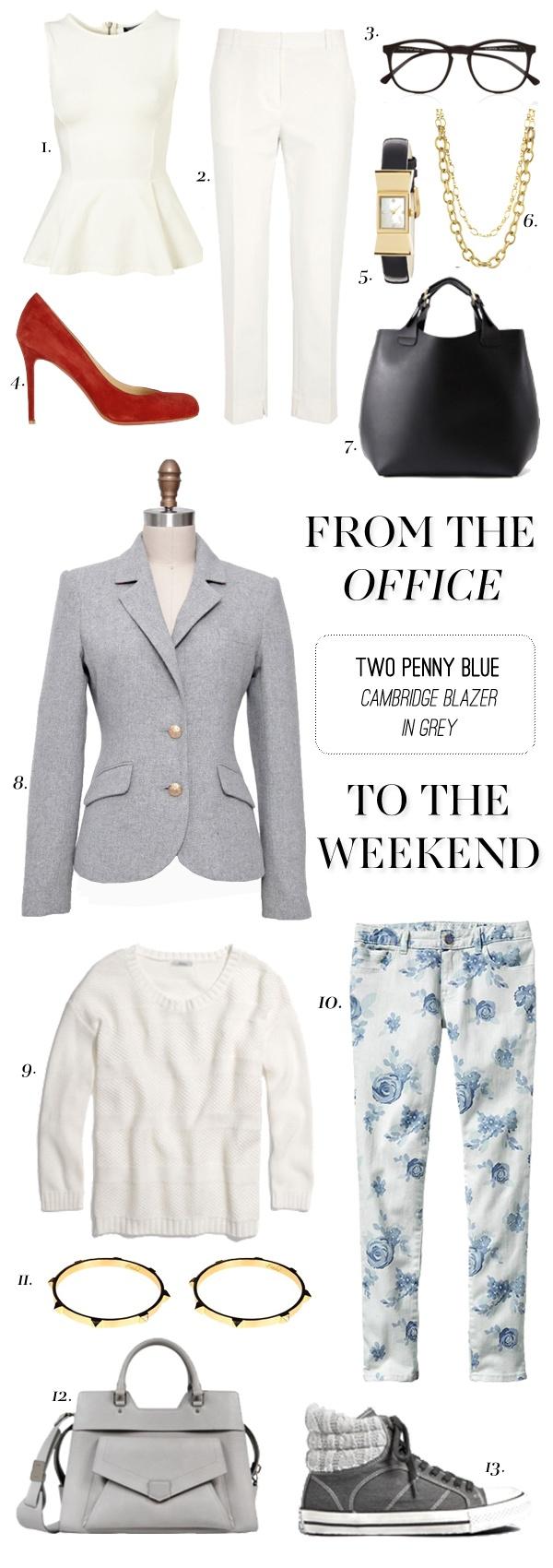 BLOG POST // office to weekend look // grey cambridge blazer // grey blazer red pump peplum top black frame glasses floral skinnies spike bangles // via blog.2pennyblue.com