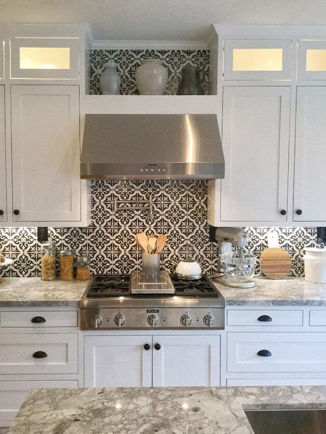 Black and White Cement Tile. Farmhouse kitchen with Black and White Cement Jordan from @i_heart_home_design via Instagram.  Love the hood & shelf above it.
