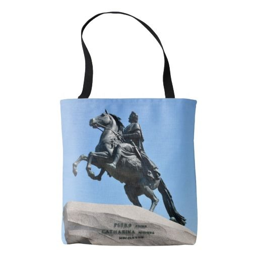 Bronze Horseman Tote Bag. Equestrian statue of Peter the Great in Saint Petersburg, Russia also known as Bronze Horseman