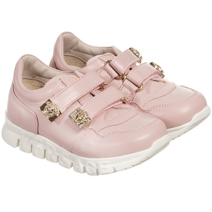 Young Versace - Pink Leather Velcro Trainers with Gold Medusas | Childrensalon