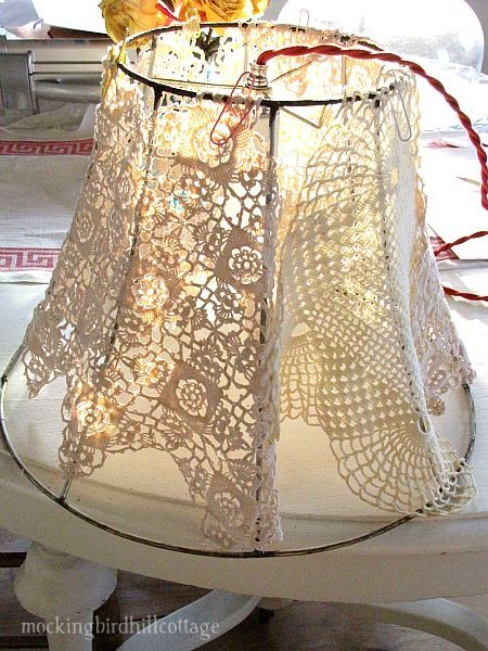 doily lampshade ... Grandmother K's doilies, on lampshade for guest room?