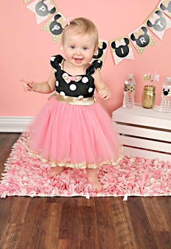 Minnie mouse dress 1st birthday outfit birthday party dress  tutu dress  princess dress  hot pink dress big bow dress  gold dress