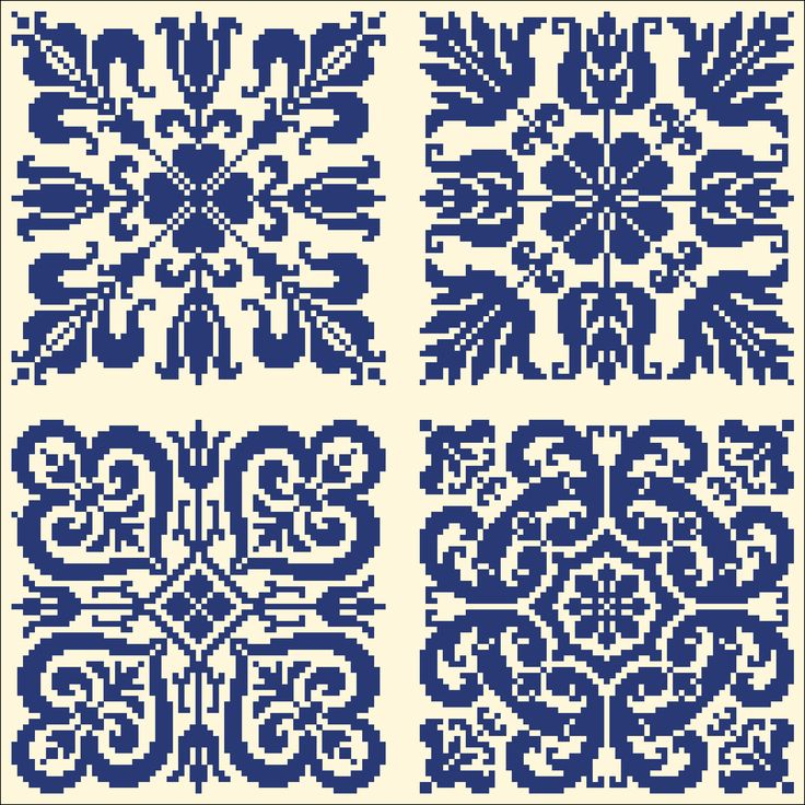 More blue tiles from Wolf et Dupeyron | Charts for cross stitch or filet crochet.