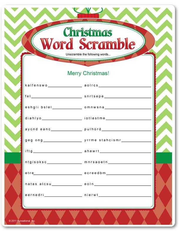 Printable Christmas Word Scramble - Funsational.com