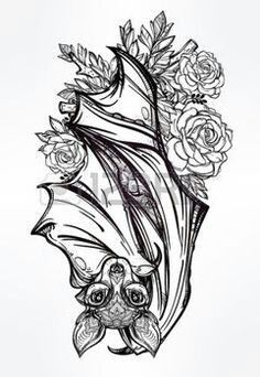 Hanging bat with flowers